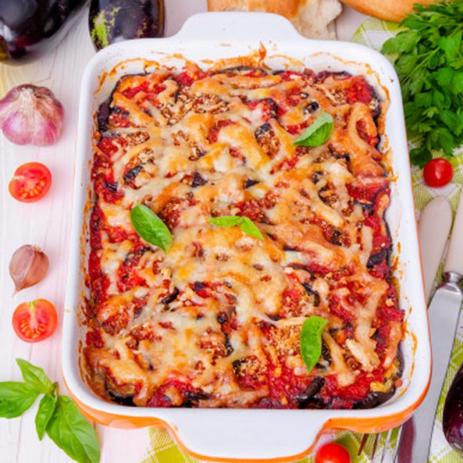 Mountain of Alicante striped aubergine bake