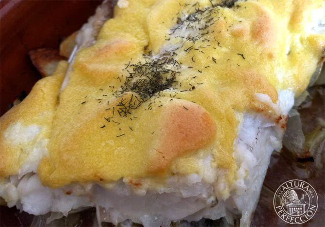 Baked hake with alioli. A really easy recipe