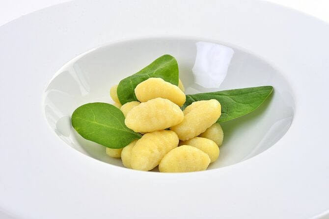 Gnocci and wild mushrooms in a cashew and parsley sauce