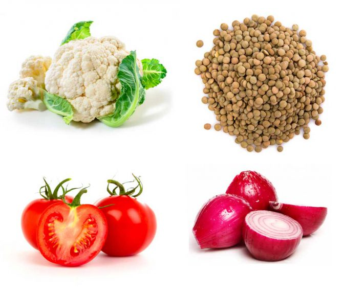 Warm vegan salad with cauliflower, lentils and caramelized onion