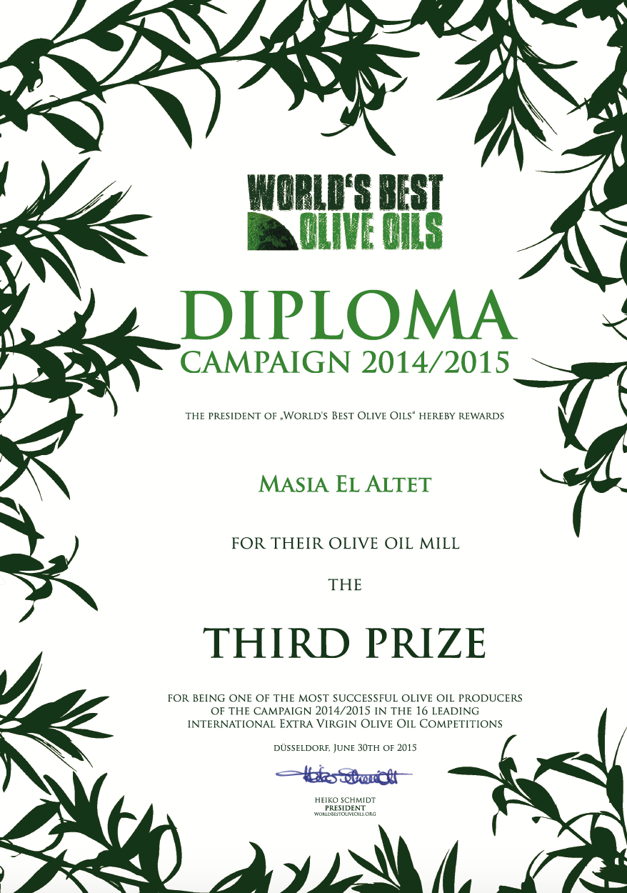 TERCERA MEJOR ALMAZARA WORLD´S BEST OLIVE OILS MASIA EL ALTET