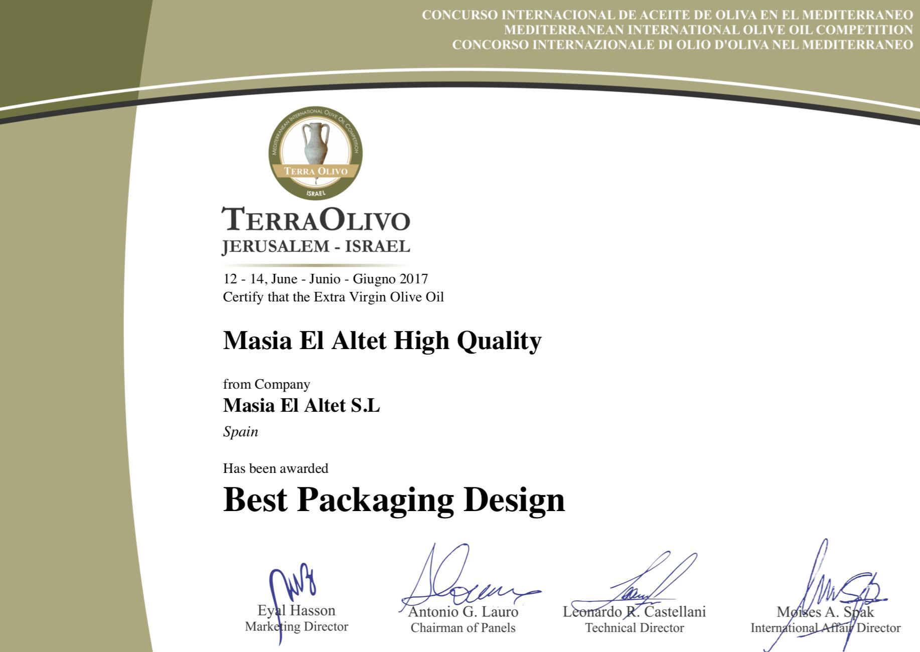 Premio Diseño TERRAOLIVO